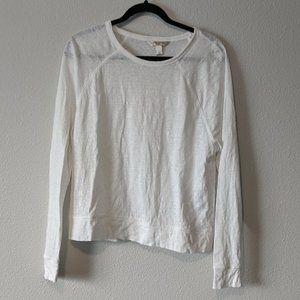 Banana Republic White Linen Raglan Cropped T-Shirt